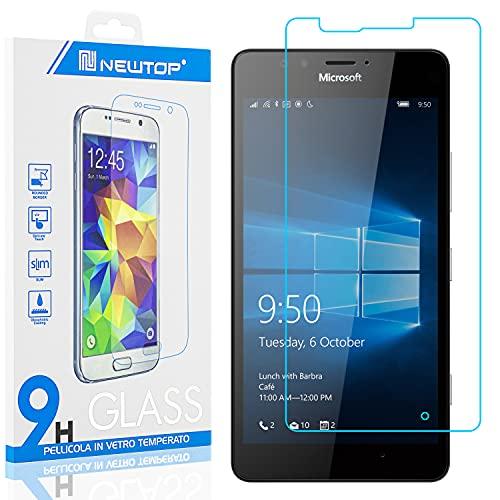 N NEWTOP [1 PEZZO] Pellicola GLASS FILM Compatibile con Microsoft Nokia Lumia 950, Fina 0.3mm Durezza 9H Vetro Temperato Proteggi Schermo Display Protettiva Anti Urto Graffio Protezione