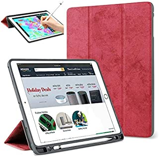 iPad Pro 12.9 inch 2017 2015 Case with Pencil Holder,Light Smart Case Soft TPU Back Cover Trifold Stand with Auto Sleep/Wake Protective Case for Apple iPad Pro 12.9 1st Gen&2nd Gen (Red)