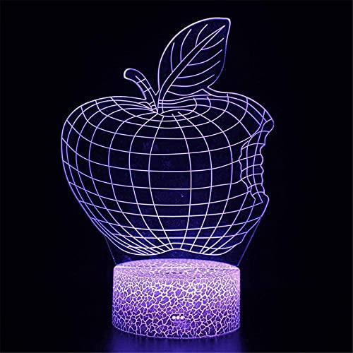 Lámpara de noche de ilusión 3D de Apple, lámpara de noche pequeña, 16 colores cambiantes LED con características táctiles inteligentes para niños de 2 3 4 5 6 7+ años de edad con regalos de Navidad