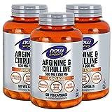[海外直送品] 3本セット NOW FoodsLアルギニン 500mg & Lシトルリン 250mg 120粒入