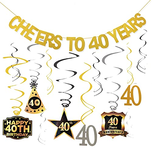 40th Birthday Party Decorations Kit Cheers to 40 Years Banner Swirls for Women 40th Birthday Party Decorations