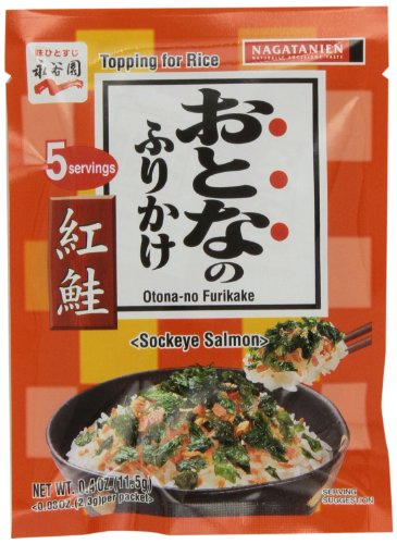 Nagatanien Otona-no Furikake Sockeye Salmon, .4-Ounce Units (Pack of 10)