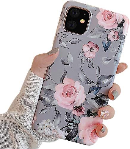 Ownest Kompatibel mit iPhone 11 Hülle mit Purple Floral & graue Blätter für Mädchen Frauen-Blätter mit Blumen-Muster Romantisches Elegantes weiches TPU für iPhone 11-Rosa Blumen