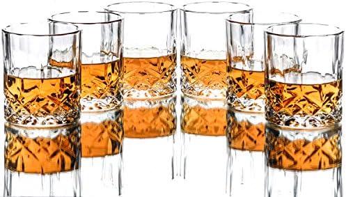 Triplorare Whiskey glasses set of 6 11 OZ Old Fashioned Whiskey glasses Rum glasses Bar whiskey product image