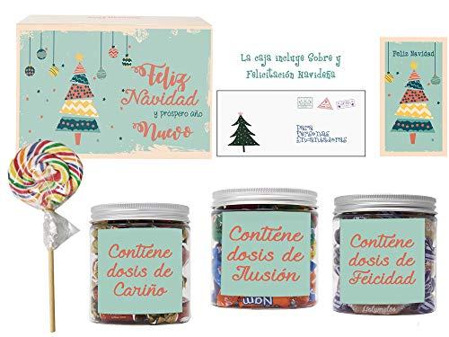 SMARTY BOX Caja Arbol de Navidad Regalo original de Caramelos y Gominolas con Frases, Surtido Chuches, Chucherías sin Gluten Caramelos Toffee, Masticables frutas y Gominolas Naturales, Golosinas