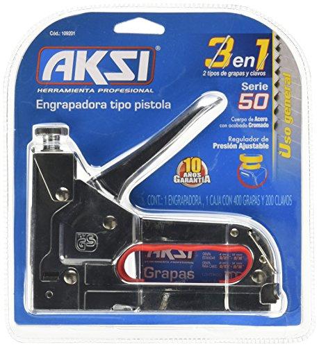 Engrapadora tipo Pistola Aksi con Regulador de Presión 1/4″ y 5/16″ incluye caja de 400 grapas de 5/16″…