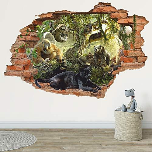 Adesivo da parete 3D della giungla della natura selvaggia - Libro della giungla - Pantera nera - Adesivo da parete rimovibile in vinile per bambini