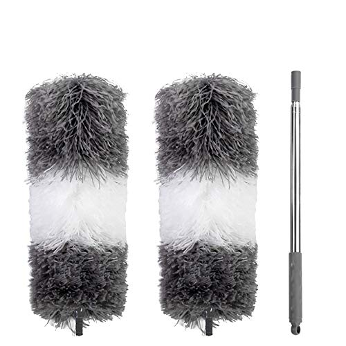 ZUEN Extendable Microfiber Duster, Feather Duster with Bendable Head Washable for Cleaning High Ceiling Fans, Blinds, Cobweb, Cars
