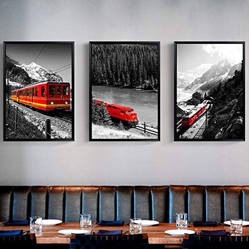Lunderliny Canvas Printings City Series Picture Rustic Black And White Landscape Canvas Painting Red Train Snow Mountain Print Poster Wall Art Home Decor D