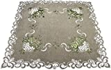 Embroidered Green Leaf on Antique Green Fabric Table Topper Small Tablecloth Dresser Scarf 33 Inch Square Doily