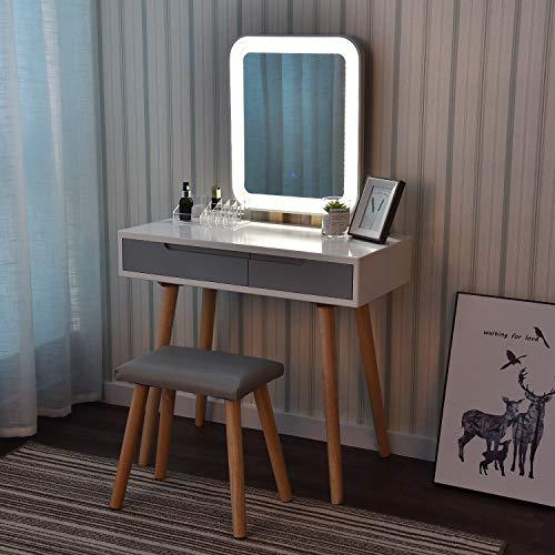 YOURLITE - Tavolino da toeletta con luci a LED, con Specchio Regolabile, Sgabello Imbottito e Organizer per Il Trucco (Bianco+Grigio+Specchio Rettangolare)