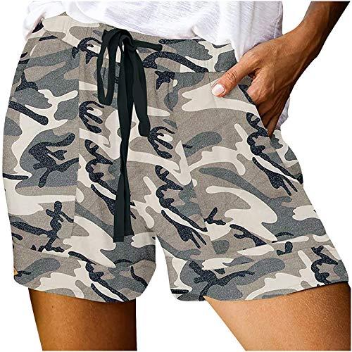 Traje de playa para mujer, cómodo con cordón y empalme de cintura elástica informal y pantalones cortos sueltos para vacaciones de verano