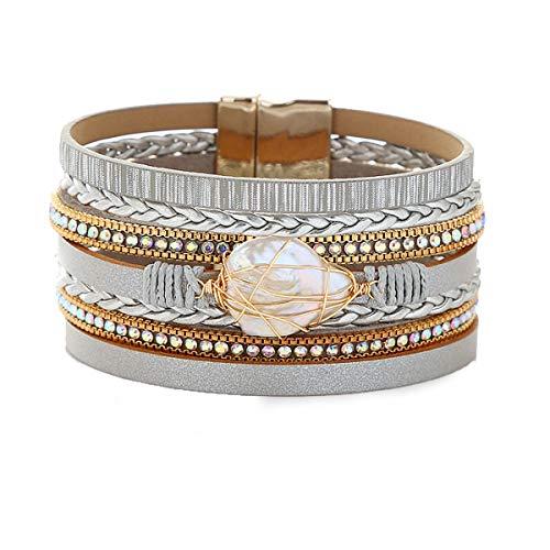 JAOYU Leather Bracelet for Women Cuff Bracelets Crystal Bangle Handmade Wristband Braided Jewelry Bohemian Gift for Teen Girls