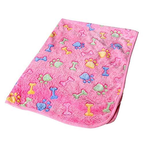 Rutaqian - Coperta per animali domestici, morbida e confortevole, con stampa di zampe, copertina portatile per cani e gatti, 20 x 20 cm, colore: Rosa