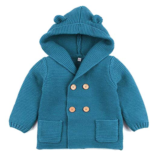 New Baby Sweater Boys Cardigan Autumn Winter Fur Collar Knitted Jacket Coat Toddler Kids Cardigan Blue 12M