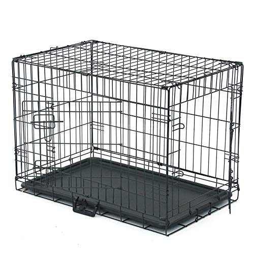Dog Crate Puppy Box 30' Pet Kennell Cat Rabbit Folding Steel Box Animal Play Pen Wire Metal Cage Black Double Open Cage With Plastic Tray (Arrival in 2-5 days)