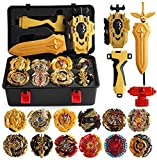 empty 12 Pcs Burst Turbo Gyros Top Evolution Metal Fusion Bay Blade Battle Gyro Battling Tops Game Set with 12 Spinning Top and 3 Launchers, Age 8+ Black