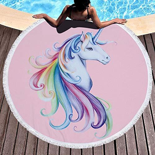 AMZJIEFU Toalla de Playa Flamingo de Hojas Tropicales Impresas Toalla de Playa Redonda de Microfibra Unicornio para decoración del hogar baño de Estilo Bohemio-F3