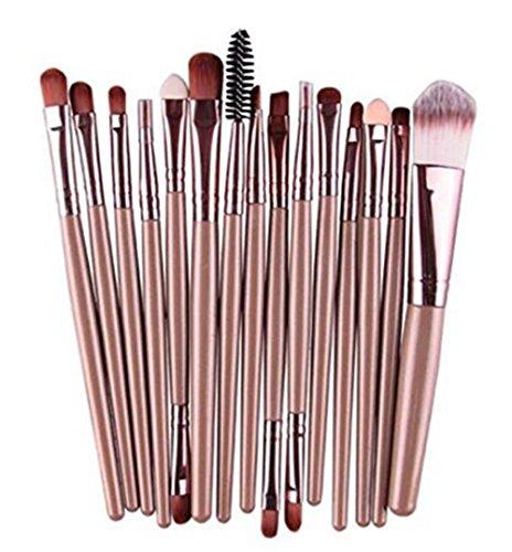 Wonque Maquillage Brush Set Cosmétique Kit Pinceau Lot de 15, café, 16cm