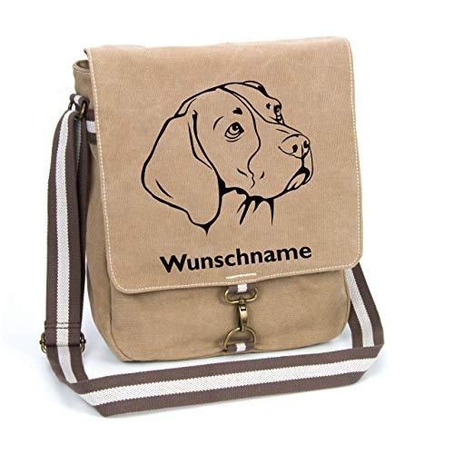 Beagle Canvas Schultertasche Umhängetasche Tasche mit Hundemotiv und Namen personalisiert