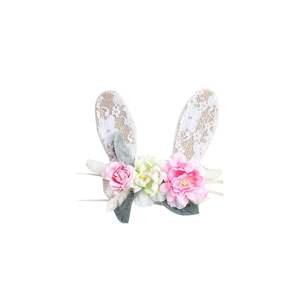 SMOXX Artificial Flower Artificial Flower Headband Baby Girl Rabbit Ear Hair Band Princess Bandeau Prop for DIY Wedding Bouquets Centerpieces Arrangements Party Baby Shower Party Home Decorations