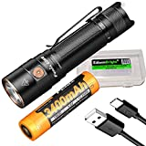 Fenix E28R 1500 Lumen USB-C Rechargeable EDC Flashlight with EdisonBright battery carrying case bundle