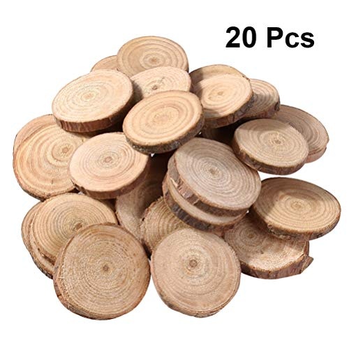 Supvox Wood Slices Blank Wood Pieces Crafts Square Unfinished DIY Plaque 25MM 200 Pcs