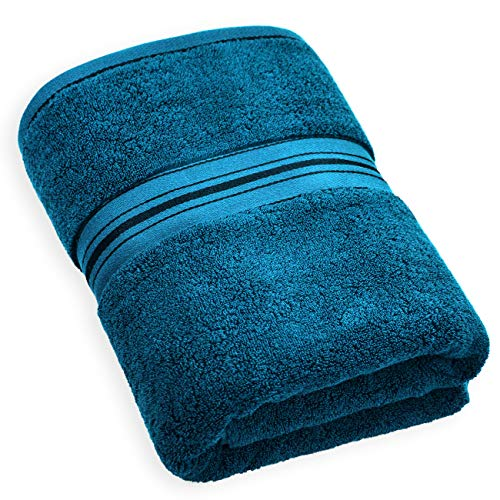 Cleanbear Luxury Bath Towel, 600 GSM, 100% Cotton Towel for Bathroom or Guestroom (27 x 58 Inches, Peacock Blue)