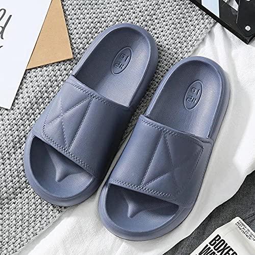 LLRR Cómodos Casual Zapatos de Playa,Zapatillas de Fondo Grueso Antideslizantes de Verano para Mujer, Sandalias Suaves de baño para hombre-41-42_Gray,Mulas Sandalias Sin Cordones