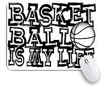 VAMIX マウスパッド 個性的 おしゃれ 柔軟 かわいい ゴム製裏面 ゲーミングマウスパッド PC ノートパソコン オフィス用 デスクマット 滑り止め 耐久性が良い おもしろいパターン (黒の碑文バスケットボール私のアクションスポーツ勝者レクリエーションアスリートアタックボールボーラーバスケット)