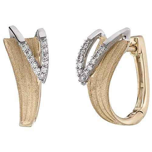 JOBO Damen-Creolen aus 585 Gold Bicolor mit 22 Diamanten