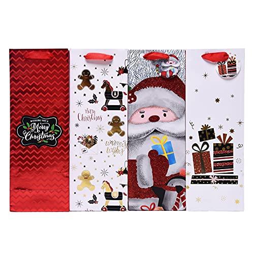 Bolsas de Papel Para Regalo de Vino 12 Piezas Navidad Bolsas de Regalo Vino Bolsa de ChampáN Premium Bolsa Vino Bolsa de Regalo de Botella de Papel con Asas Para Regalos Vino de Navidad Fiestas