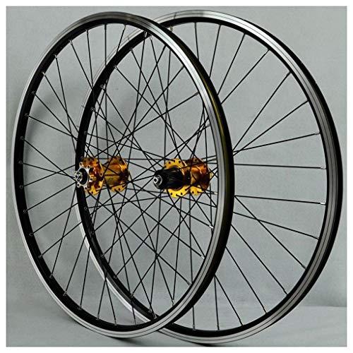 CWTC Ruedas de Bicicleta MTB 26 Pulgadas, Pared Doble Aleación de Aluminio Freno de Disco/V-Brake Bicicleta Híbrida Admite Velocidad 7/8/9/10