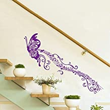 Golden cart Wall Sticker Purple Musical Butterfly Flowing for Living Room (PVC Vinyl, Purple, Finished Size on Wall: 170x50cm) - Pack of 2