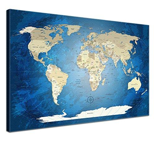 """LANA KK - Weltkarte Leinwandbild mit Korkrückwand zum pinnen der Reiseziele – """"World Map Blue Ocean"""" - englisch - Kunstdruck-Pinnwand Globus in blau, in 120x80cm"""