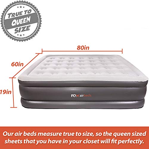 Best Inflatable Bed by Fox Airbeds - Plush High Rise Air Mattress in King, Queen, Full and Twin (Queen)