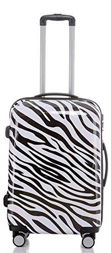 Reise Koffer Trolley mit Polycarbonat ABS Hartschale und Motiv BB (3: 70 Liter - Gr. L, Zebra)