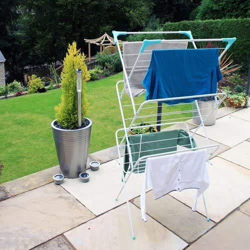 Classy 'N' Cozy Foldable Steel Cloth Dryer Stand Double Rack Cloth Stands for Drying Clothes Steel Hi Quality Foldable Cloth Dryer/Clothes Drying Stand (GARDEN-GREEN)