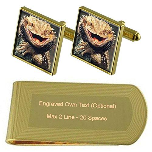 Select Gifts Drago barbuto Gold-tone gemelli denaro inciso Clip Set regalo