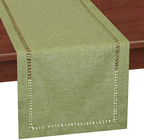 Grelucgo Handcrafted Solid Color Dining Table Runner Dresser Scarf Double Hemstitched Sage Green product image