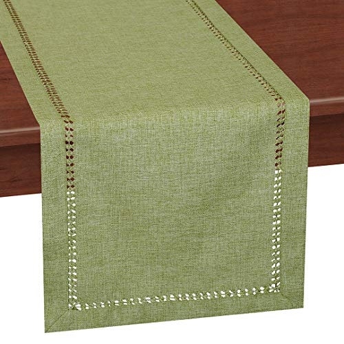 Grelucgo Small Handcrafted Solid Color Dining Table Runner, Dresser Scarf, Double-Hemstitched (Sage Green, 14 x 36)
