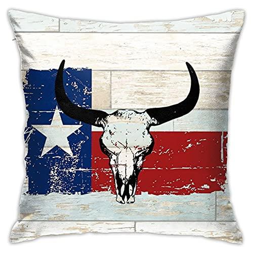 Fundas de almohada de estilo vintage con diseño de bandera de Texas del Estado Americano, cómodas, cuadradas, impresas, fundas de cojín decorativas para sofá, hogar, sala de estar, 45,7 x 45,7 cm