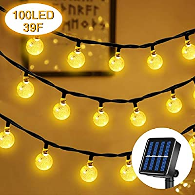 Lamantt Solar String Lights Warm White 12M 100 LED Bulb Fairy Lights String Fairy Lights with 8 Lighting Modes LEDs Fairy Lights for Indoor Outdoor Party Living Room Bedroom Garden