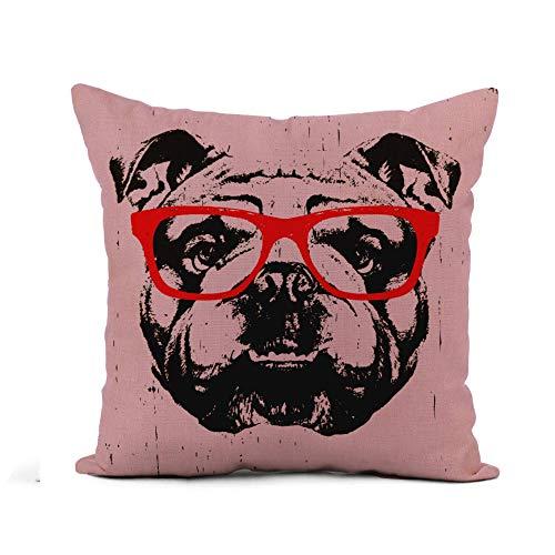 N\A Throw Pillow Cover Perro Retrato de Bulldog Inglés Gafas Gafas de Sol Divertidas Funda de Almohada de Cara Decoración del hogar Funda de Almohada de Lino de algodón Cuadrada Funda de cojín