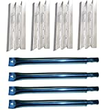 Votenli S9602A(4-Pack) S1108A(4-Pack) Stainless Steel Heat Plate and Stainless Steel Burner Replacement for Broil King 9625-84, 9625-87, 9635-84, 9635-87, Baron 320, Baron 340, Baron 420, Baron 440,