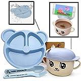 Set  Plato Bebé Compartimentos con Cubiertos + Taza Infantil de Diseño con Cuchara | Vajilla...