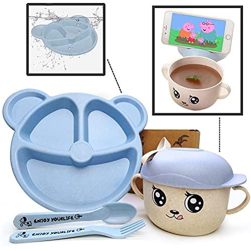 Set >> Plato Bebé Compartimentos con Cubiertos + Taza Infantil de Diseño con Cuchara   Vajilla Bebé Azul Sin BPA   Ideal BLW   5 piezas   Niño y Niña   Apto para Microondas