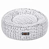 FEANDREA Dog Bed, Pet Bed, Plush, Washable, Anti-Slip Bottom, Round, 23 Inches Dia., White UPGW057W01
