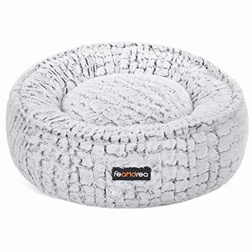 FEANDREA Dog Bed, Pet Bed, Plush, Washable, Anti-Slip Bottom, Round, 23 Inches Dia., White UPGW057W01