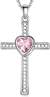 Jude Jewelers Stainless Steel Heart Birthstone Cross Statement Wedding Cocktail Party Pendant Necklace